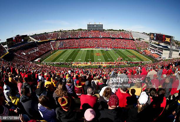 General view as fans watch the matchup between the Iowa State Cyclones and the Kansas Jayhawks on October 3 2015 at Jack Trice Stadium in Ames Iowa