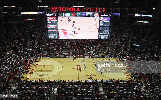 General view as fans watch the play during the game between the Los Angeles Lakers and the Houston Rockets at Toyota Center on December 12, 2015 in...
