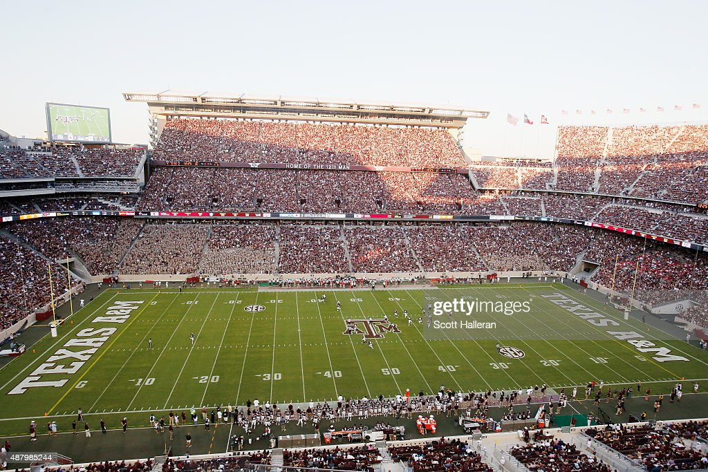 General view as fans watch the play in the first half between the Texas A&M Aggies and the Ball State Cardinals at Kyle Field on September 12, 2015 in College Station, Texas.