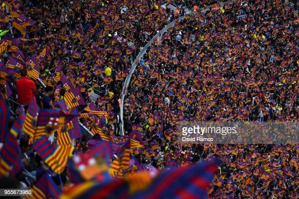 A general view as FC Barcelona fans show their support prior to the La Liga match between Barcelona and Real Madrid at Camp Nou on May 6 2018 in...