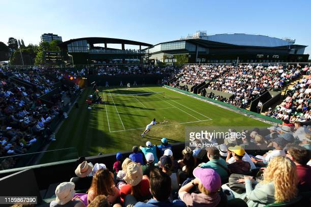 A general view as Felix AugerAliassime of Canada and Corentin Moutet of France play in their Men's Singles second round match during Day three of The...