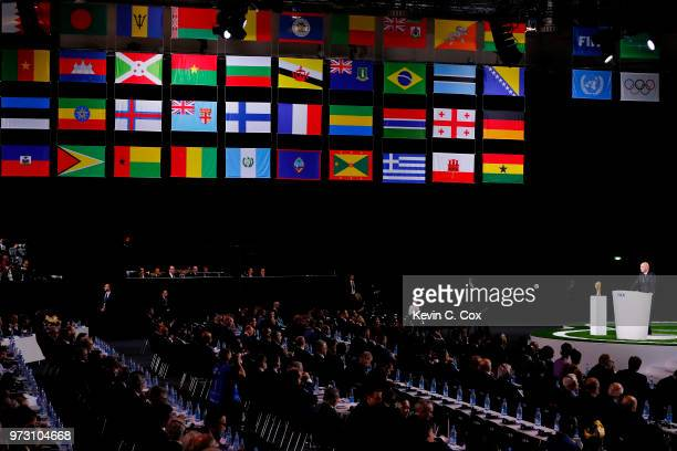 A general view as FIFA President Gianni Infantino addresses the 68th FIFA Congress at the Moscow Expocentre on June 13 2018 in Moscow Russia