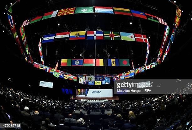 A general view as FIFA President Joseph S Blatter talks during the 65th FIFA Congress at the Hallenstadion on May 29 2015 in Zurich Switzerland