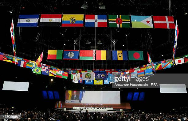 A general view as FIFA President Joseph S Blatter talks on stage during the 65th FIFA Congress at the Hallenstadion on May 29 2015 in Zurich...