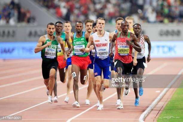 General view as Filip Ingebrigtsen of Norway, Timothy Cheruiyot of Kenya and Heat 1 compete in the Men's 1500 metres semi finals during day eight of...