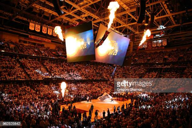 A general view as fire erupts from the jumpotron before Game Six of the 2018 NBA Eastern Conference Finals between the Cleveland Cavaliers and the...