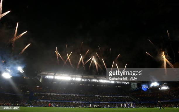 General view as fireworks are let off as Chelsea celebrate being champions after the Premier League match between Chelsea and Watford at Stamford...