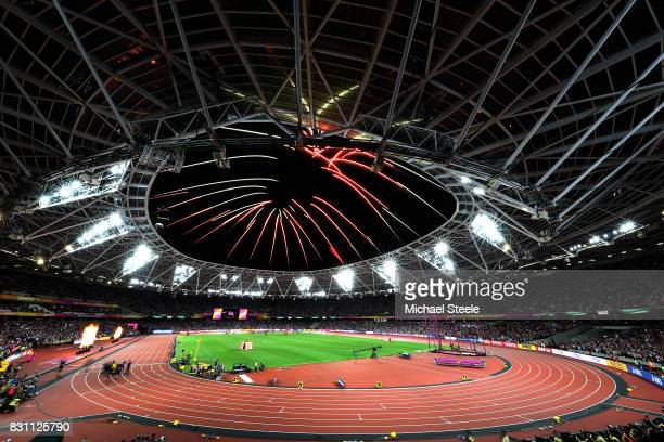 A general view as fireworks are set off during day ten of the 16th IAAF World Athletics Championships London 2017 at The London Stadium on August 13...