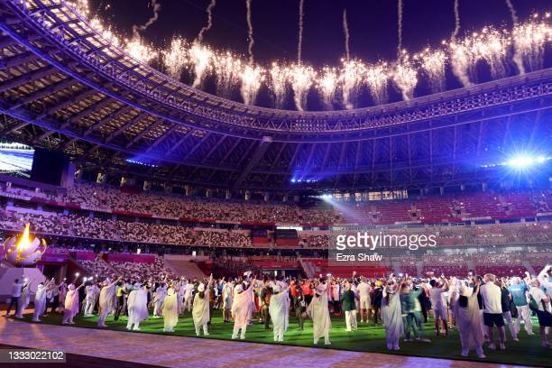 General view as fireworks are set off over the stadium during the Closing Ceremony of the Tokyo 2020 Olympic Games at Olympic Stadium on August 08,...