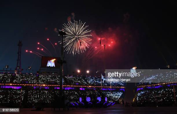 A general view as fireworks erupt during the Opening Ceremony of the PyeongChang 2018 Winter Olympic Games at PyeongChang Olympic Stadium on February...