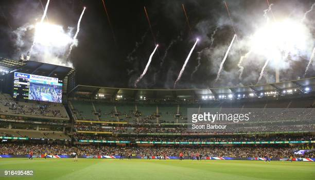 A general view as fireworks explode after Australia won game two of the International Twenty20 series between Australia and England at Melbourne...