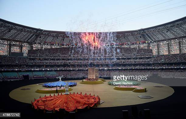 A general view as fireworks explode at the start of the Closing Ceremony for the Baku 2015 European Games at Olympic Stadium on June 28 2015 in Baku...