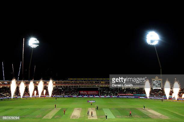 A general view as fireworks go off after Northamptonshire win their finals match against Durham during the NatWest T20 Blast Finals day at Edgbaston...