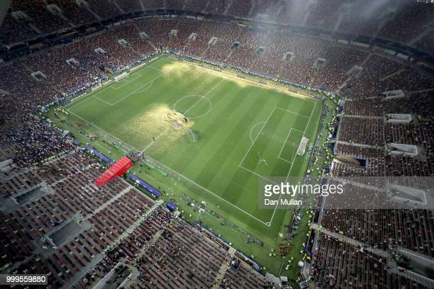 General view as fireworks go off during the trophy presentation following the 2018 FIFA World Cup Final between France and Croatia at Luzhniki...