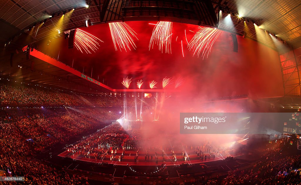 A general view as fireworks light up the sky during the Opening Ceremony for the Glasgow 2014 Commonwealth Games at Celtic Park on July 23, 2014 in Glasgow, Scotland.