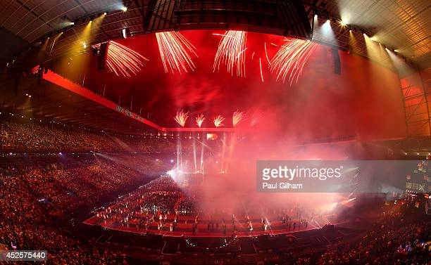 A general view as fireworks light up the sky during the Opening Ceremony for the Glasgow 2014 Commonwealth Games at Celtic Park on July 23 2014 in...