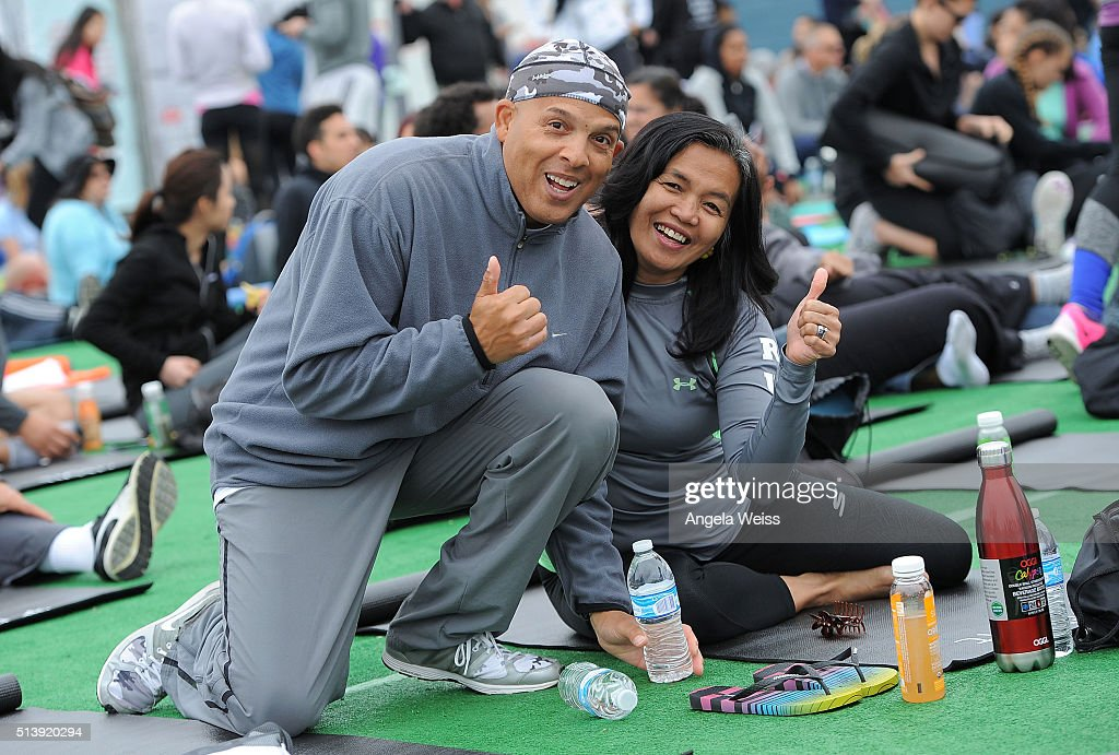 A general view as Fitbit Local Los Angeles launches with a free event on the Santa Monica Pier. Fitbit Local Ambassadors Elise Joan & Todd McCullough lead participants in a bootcamp and yoga workout at Santa Monica Pier on March 5, 2016 in Santa Monica, California.