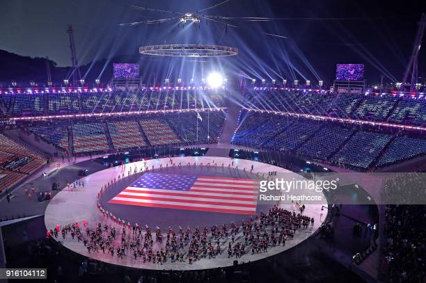 A general view as Flag bearer Erin Hamlin of the United States and teammates enter the stadium during the Opening Ceremony of the PyeongChang 2018...