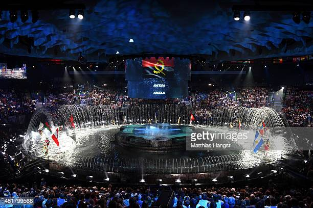 A general view as flag bearers enter the arena during the Opening Ceremony of the 16th FINA World Championships at TatNeft Arena on July 24 2015 in...