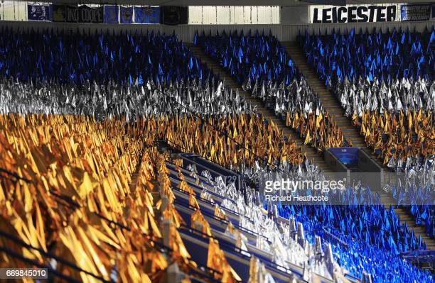 A general view as flags are lined up on seats prior to the UEFA Champions League Quarter Final second leg match between Leicester City and Club...