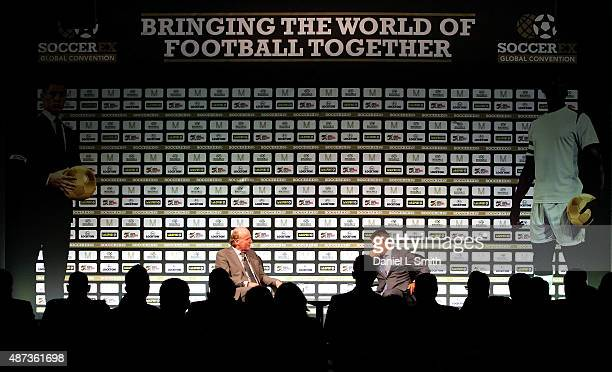 A general view as Football Association Chief Executive Martin Glenn talks to delegates during day five of the Soccerex Manchester Convention at...