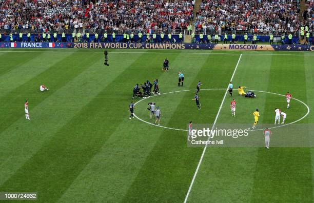 General view as France celebrate winning as Croatia sit dejected after the 2018 FIFA World Cup Russia Final between France and Croatia at Luzhniki...