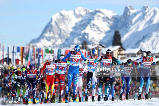 A general view as Francesco De Fabiani of Italy Richard Jouve of France and Ueli Schnider of Switzerland compete in the second semifinal run for the...