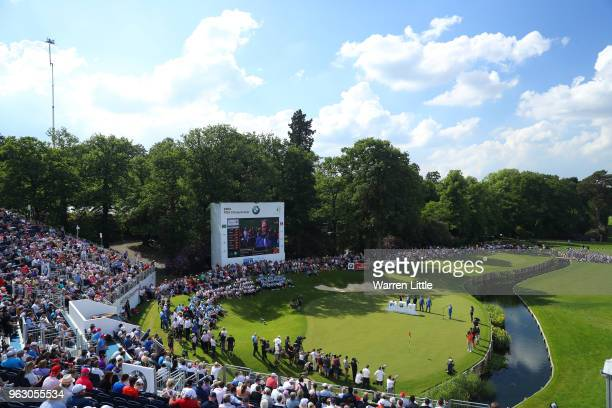 A general view as Francesco Molinari of Italy is presented with the trophy after victory on day four and the final round of the BMW PGA Championship...