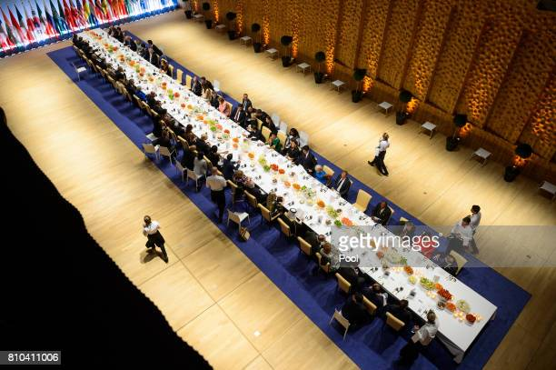 A general view as G20 leaders attend a state banquet in the Elbphilarmonie concert Hall on the first day of the G20 economic summit on July 7 2017 in...
