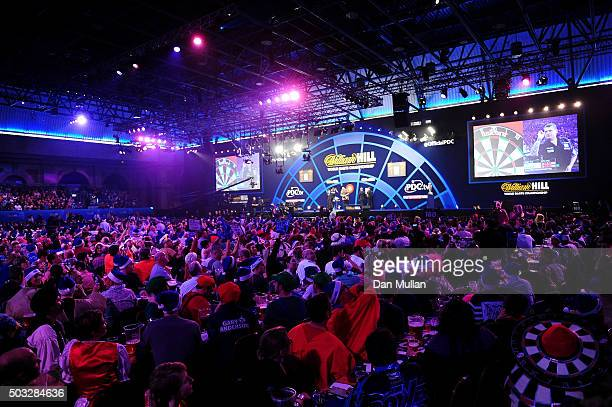 A general view as Gary Anderson of Scotland takes on Adrian Lewis of England in the final match during Day Fifteen of the 2016 William Hill PDC World...