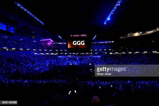 A general view as Gennady Golovkin enters the ring to take on Canelo Alvarez before their WBC WBA and IBF middleweight championship bout at TMobile...
