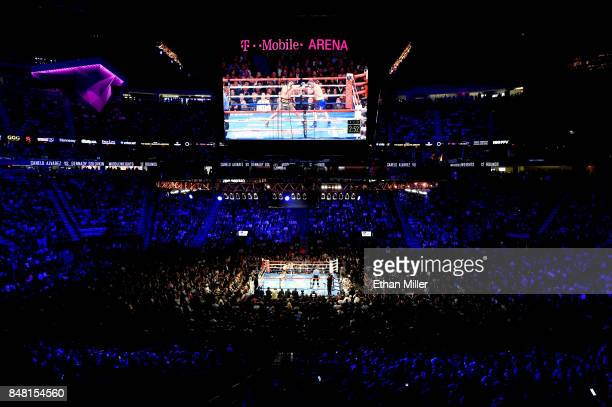 A general view as Gennady Golovkin takes on Canelo Alvarez during their WBC WBA and IBF middleweight championship bout at TMobile Arena on September...