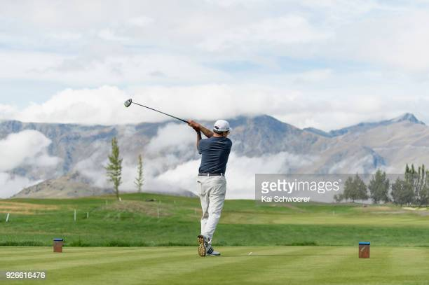 General view as George Djuhari tees off during day three of the ISPS Handa New Zealand Golf Open at Millbrook Golf Resort on March 3 2018 in...