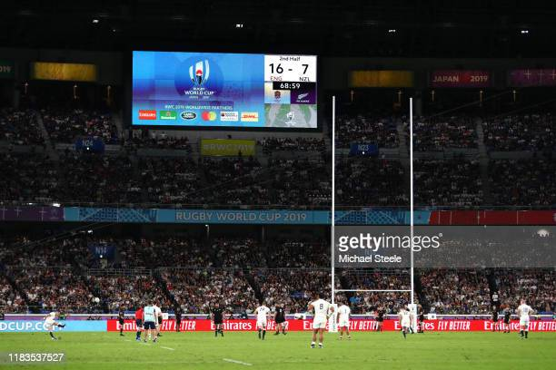 General view as George Ford of England coverts a penalty during the Rugby World Cup 2019 SemiFinal match between England and New Zealand at...