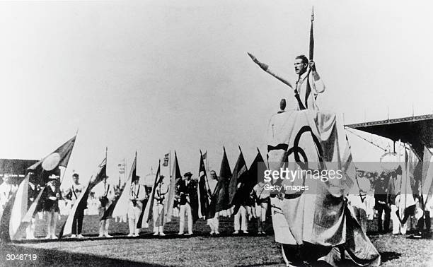 General view as Georges Andre lends the Olympic Oath during the opening ceremonies of the VIII Olympic Games on May 4 1924 in Paris France