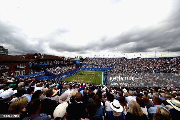 A general view as Gilles Muller of Luxembourg serves during the mens singles semifinal match against Marin Cilic of Croatia on day six of the 2017...