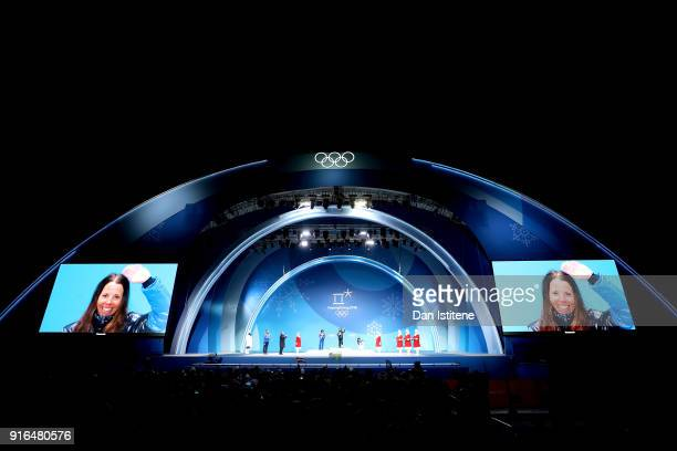 A general view as gold medalist Charlotte Kalla of Sweden is seen on the video screen during the Medal Ceremony for the CrossCountry Skiing Ladies'...