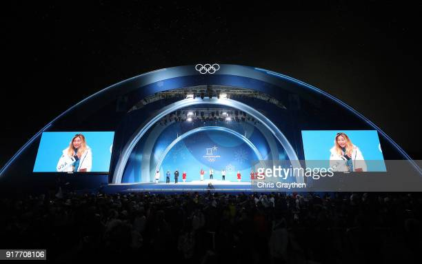 General view as Gold medalist Chloe Kim of the United States poses during the medal ceremony for the Snowboard Ladies' Halfpipe Final on day four of...