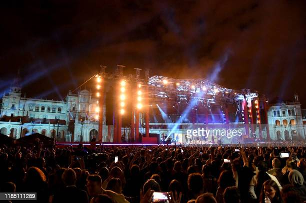 A general view as Green Day perform during the World Stage held at the Plaza de Espana ahead of the MTV EMAs 2019 on November 02 2019 in Seville Spain