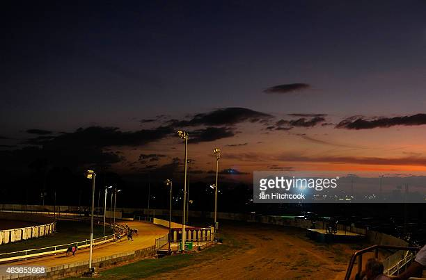 A general view as Greyhounds race at the Townsville Showgrounds during a Greyhound Race meeting on February 17 2015 in Townsville Australia The...