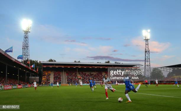 General view as Griedge Mbock Bathy of France Women clears the ball from Jodie Taylor of England Women during the UEFA Women's Euro 2017 match...