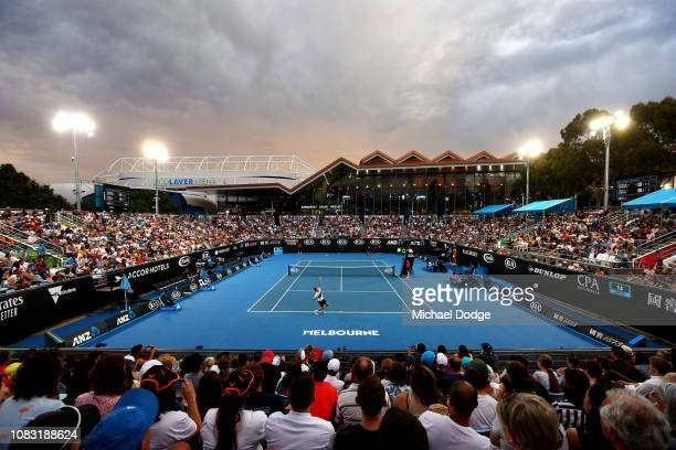 General view as Grigor Dimitrov of Bulgaria serves in his second round match against Pablo Cuevas of Uruguay during day three of the 2019 Australian...