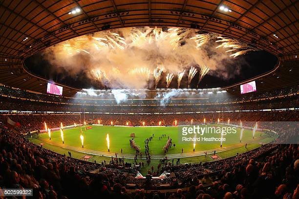 A general view as Harlequins walk out during the Aviva Premiership 'Big Game 8' match between Harlequins and Gloucester at Twickenham Stadium on...