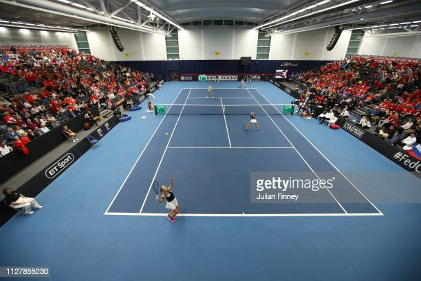 A general view as Harriet Dart and Katie Swan of Great Britain play a serve in their round robin doubles match against Dalila Jakupovic and Kaja...