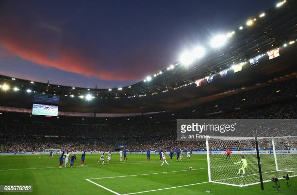 General view as Harry Kane of England scores their second goal from a penalty during the International Friendly match between France and England at...