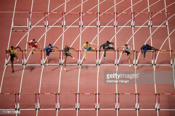 General view as Heat 1 competes in the Men's 110 metres hurdles heats during day four of 17th IAAF World Athletics Championships Doha 2019 at Khalifa...
