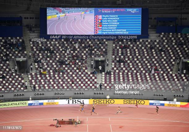 A general view as Heat 1 runs past empty seats in the Women's 400 metres heats during day four of 17th IAAF World Athletics Championships Doha 2019...