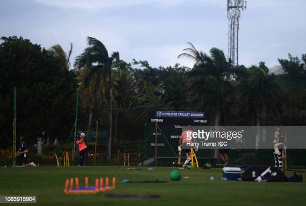 General view as Heather Knight of England bats in the nets during an England Nets Session at Coolidge Cricket Ground on November 20 2018 in Antigua...