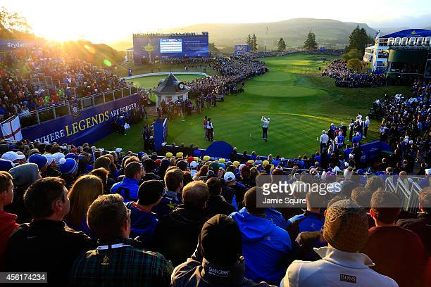 A general view as Henrik Stenson of Europe tees off on the 1st hole during the Morning Fourballs of the 2014 Ryder Cup on the PGA Centenary course at...