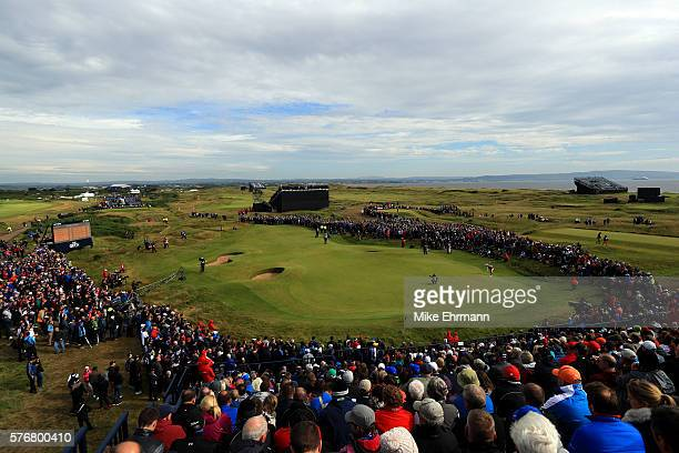 General view as Henrik Stenson of Sweden putts on the 14th green during the final round on day four of the 145th Open Championship at Royal Troon on...
